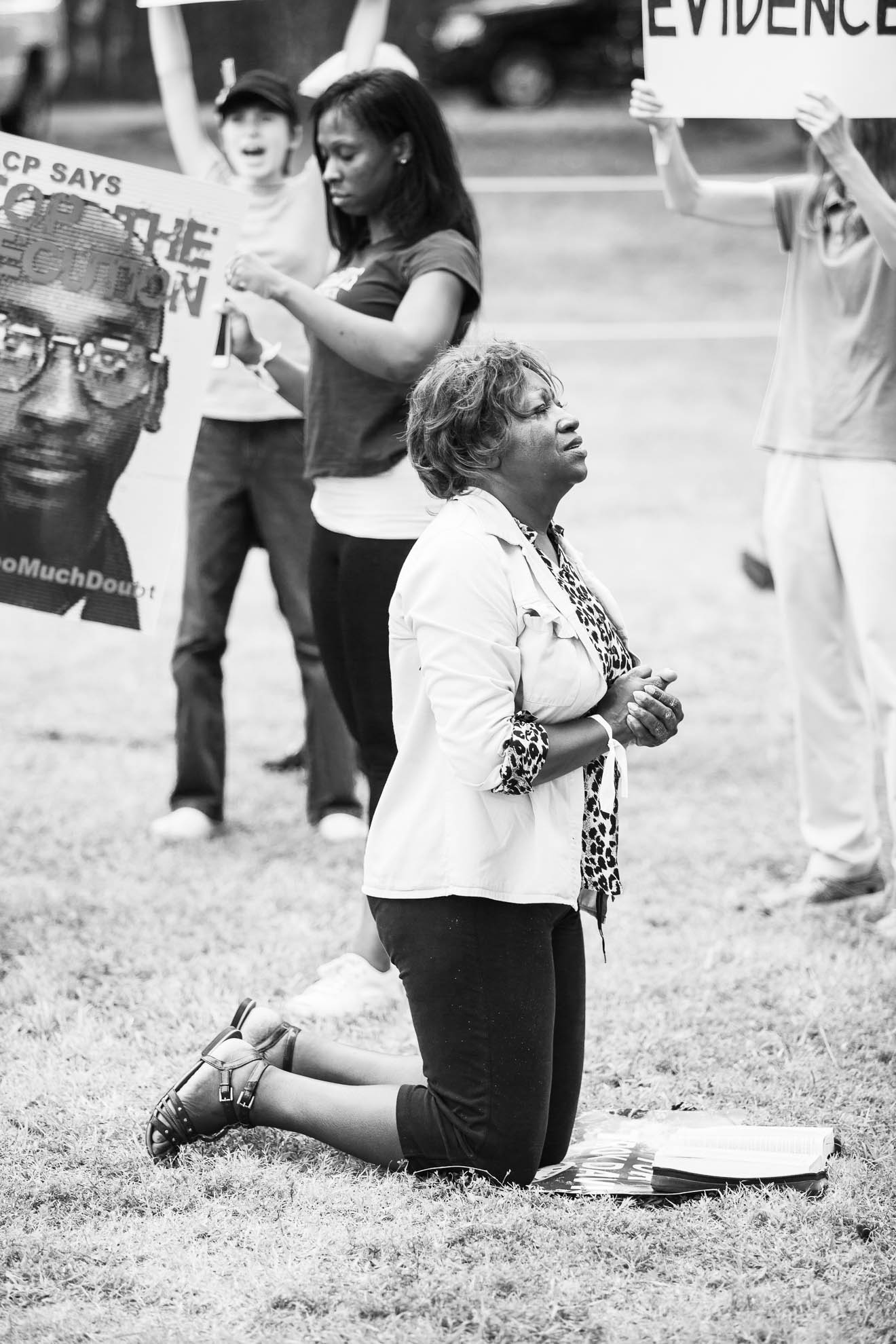 Protests and vigils in the execution of Troy Davis in Georgia - a death penalty innocence case.